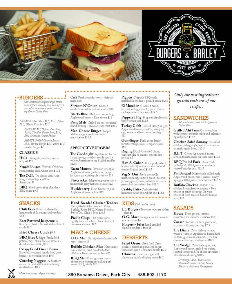 Burgers and Barley – Park City Burgers