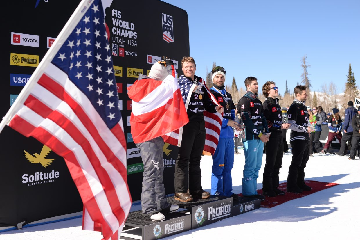 USA's Mick Dierdorff (Steamboat Springs, Colo.) celebrates his 2019 World Championships snowboardcross gold medal win with his family and teammates at Solitude Mountain Resort. (Steve Kornreich)