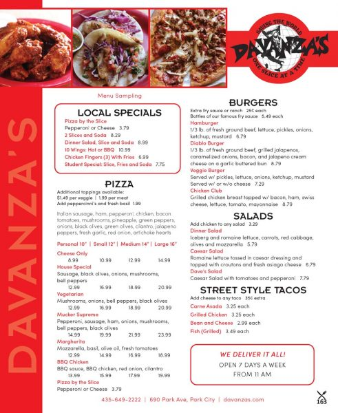 Davanza's – Park City Pizza Resturant