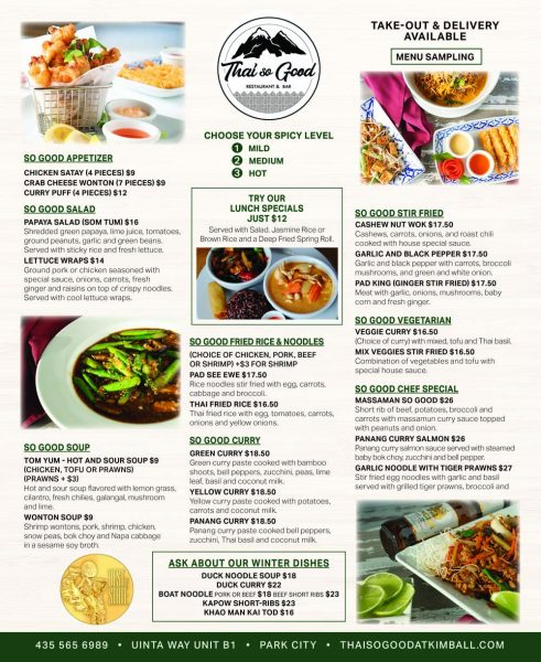 Thai So Good – Park City Thai Restaurant – Kimball Junction