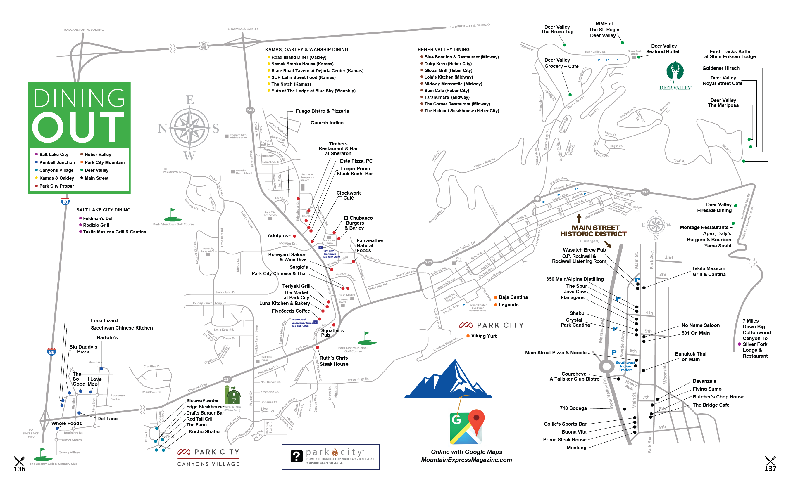 Park City Dining Map